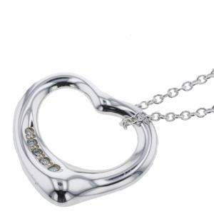 Tiffany & Co. Open Heart Silver Diamond Necklace