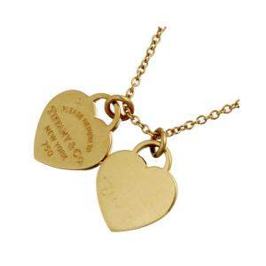 Tiffany & Co. Return to Mini Double Heart Tag 18K Yellow Gold Pendant Necklace