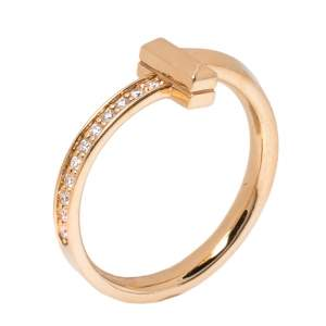 Tiffany & Co. T1 Diamond 18K Rose Gold Narrow Ring Size 54.5