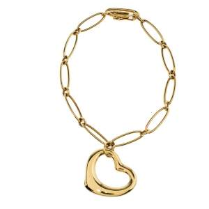 Tiffany & Co. Elsa Peretti Open Heart 18K Yellow Gold Charm Bracelet