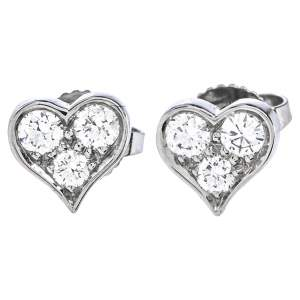 Tiffany & Co. Diamond Heart Platinum Stud Earrings