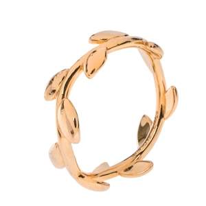 Tiffany & Co. Paloma Picasso Olive Leaf 18K Rose Gold Band Ring Size 49