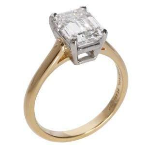 Tiffany & Co Emerald Diamond Solitaire 18K Gold/Platinum Ring Size EU 52