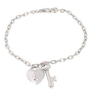 Tiffany & Co. Heart Locket Key Diamond Platinum Bracelet