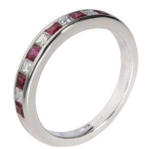 Tiffany & Co. Platinum Channel Set Ruby and Diamond Band Ring Size EU 54.5