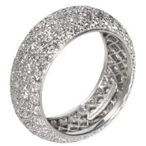 Tiffany & Co. Platinum Diamond Etoile Five-Row Band Ring Size EU 56