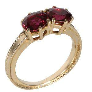 Tiffany & Co. Vintage Double Ruby 18K Yellow Gold Ring Size EU 48
