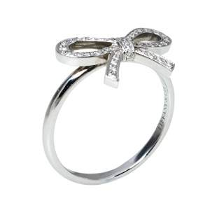 Tiffany & Co. Tiffany Bow Diamond Platinum Ring Size 53