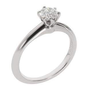Tiffany & Co. Platinum 0.38 CTW Diamond Solitaire Engagement Ring Size 47.5