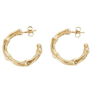 Tiffany & Co. Bamboo Textured 18K Yellow Gold Hoop Earrings