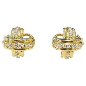 Tiffany & Co. 18K Yellow Gold Signature X Diamond Earrings