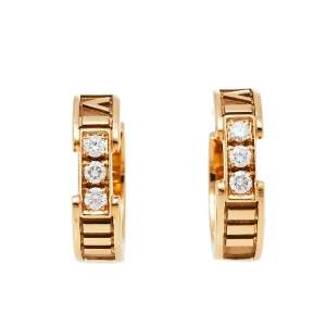 Tiffany & Co. Atlas Diamond 18K Rose Gold Hoop Earrings