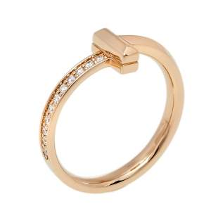 Tiffany & Co. Tiffany T T1 Diamond 18K Rose Gold Ring Size 55