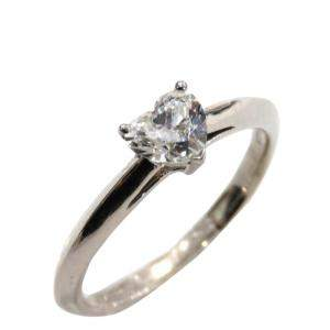 Tiffany & Co. Platinum Heart-shaped Diamond Engagement Ring Size 50.5