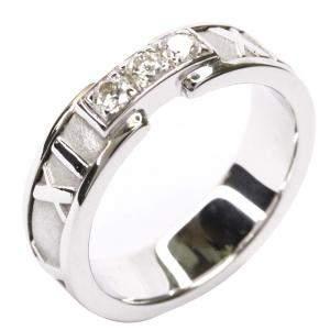 Tiffany & Co. Atlas Diamond 18K White Gold Band Ring Size EU 49