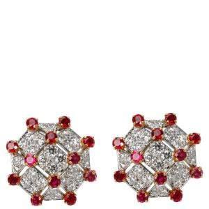 Tiffany Diamond & Ruby Trellis 18K Yellow Gold Platinum Vintage Earrings