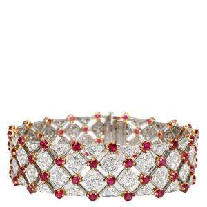 Tiffany Diamond & Ruby 18K Yellow Gold Platinum Vintage Bracelet