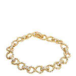 Tiffany & Co Twisted Rope Infinity 18K Gold Diamond Vintage Bracelet