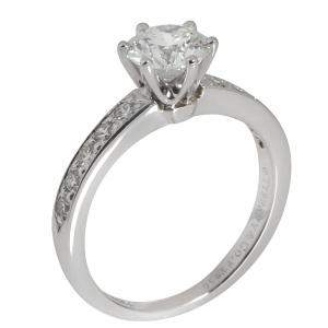 Tiffany & Co. Platinum 1.19 CTW Diamond Engagement Ring Size 51