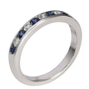 Tiffany Platinum Diamond and Sapphire Wedding Band Ring Size 51