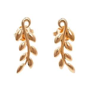 Tiffany & Co. Paloma Picasso Olive Leaf Climber 18k Rose Gold Stud Earrings