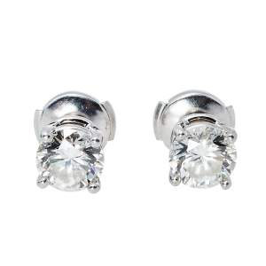 Tiffany & Co. Solitaire 2.04 ct Diamond Platinum Stud Earrings
