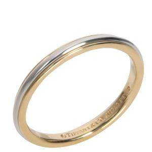 Tiffany & Co. 18K Yellow Gold and Platinum Wedding Band Size EU 48