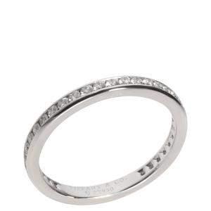 Tiffany & Co. Platinum Diamond Wedding Band Ring Size EU 53