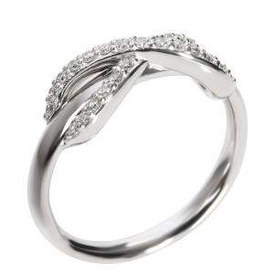 Tiffany & Co. 18K White Gold and Diamond Infinity Ring Size 48