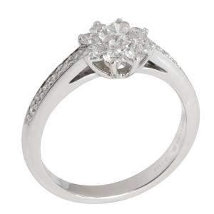 Tiffany & Co. Fleurette Diamond Platinum Ring Size EU 50