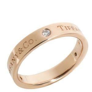 Tiffany & Co.  Diamond Wedding Band 18K Rose Gold Ring Size EU 55