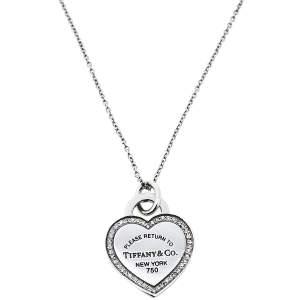 Tiffany & Co. Please Return to Tiffany Diamond 18k White Gold Heart Tag Pendant Necklace