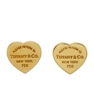 Tiffany & Co. Return to Tiffany®  18K Yellow Gold Gold Heart Tag Mini Stud Earrings