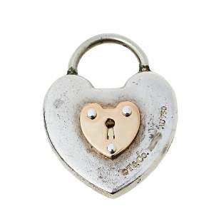 Tiffany & Co. Vintage 18K Rose Gold & Silver Heart Key Lock Pendant