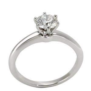 Tiffany & Co. Solitaire Diamond Engagement Platinum Ring Size EU 54.5