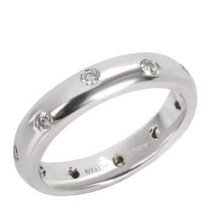 Tiffany & Co. Etoile Platinum Diamond Ring Size EU 51
