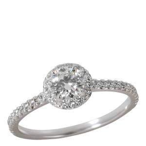 Tiffany & Co. Soleste Halo Diamond Engagement Platinum Ring EU 52