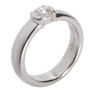 Tiffany & Co. Etoile Bezel Diamond Engagement Platinum Ring Size EU 47