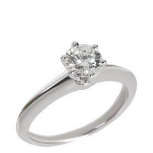 Tiffany & Co. Diamond Engagement Platinum Ring Size EU 50.5