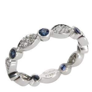 Tiffany & Co. Jazz Blue Sapphire Diamond Platinum Band Ring Size EU 51