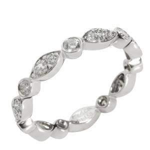 Tiffany & Co. Jazz Diamond Eternity Platinum Band Ring Size EU 51