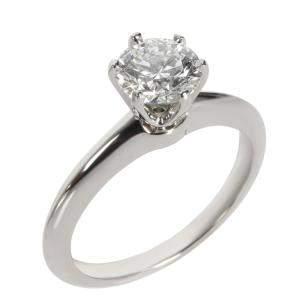 Tiffany & Co. Diamond Solitaire Engagement Platinum Ring Size EU 52