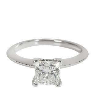 Tiffany & Co. Princess Diamond Engagement Platinum Ring Size EU 50