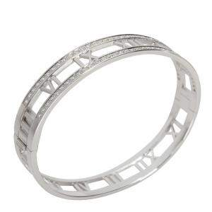 Tiffany & Co. Atlas Pierced Diamond 18K White Gold Bracelet