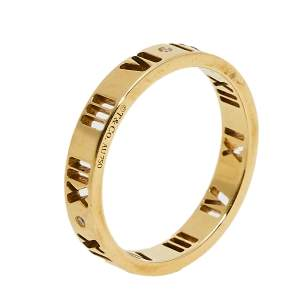 Tiffany & Co. Atlas Pierced Diamond 18K Yellow Gold Band Ring Size 52.5