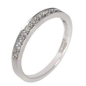Tiffany & Co. Prong Set Diamond Platinum Ring Size EU 56