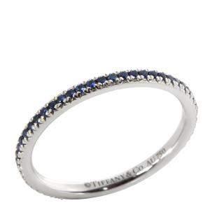 Tiffany & Co. Soleste Blue Sapphire 18K White Gold Eternity Band Ring Size EU 51