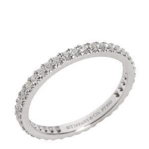 Tiffany & Co. Soleste Diamond Platinum Band Ring Size EU 50