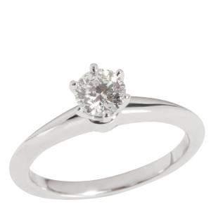 Tiffany & Co. Diamond Engagement Platinum Ring Size EU 48