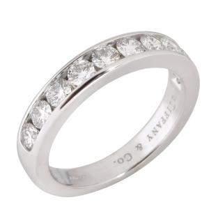 Tiffany & Co. Channel Set Diamond Platinum Wedding Band Ring Size EU 54